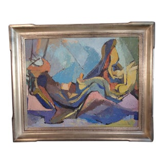 Mid 20th Century Abstract Oil Painting by Mary Louise Fry Finley, Framed For Sale