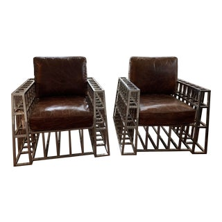Modern Andrew Martin 'Barbarossa' Armchairs- a Pair For Sale