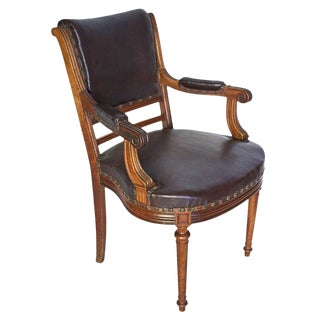 Late 19th Century Antique French Louis XVI Style Leather Armchair For Sale