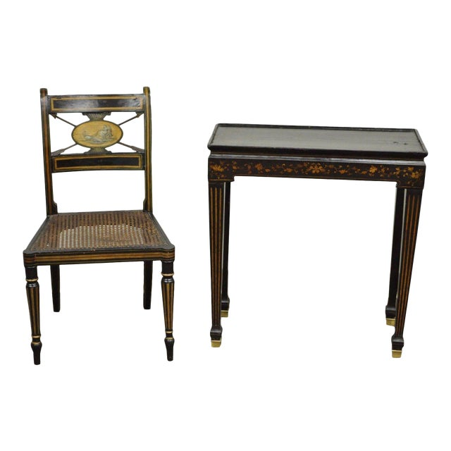 Antique Neoclassical Black Lacquered Desk Telephone Table Stand & Accent  Chair - Antique Neoclassical Black Lacquered Desk Telephone Table Stand