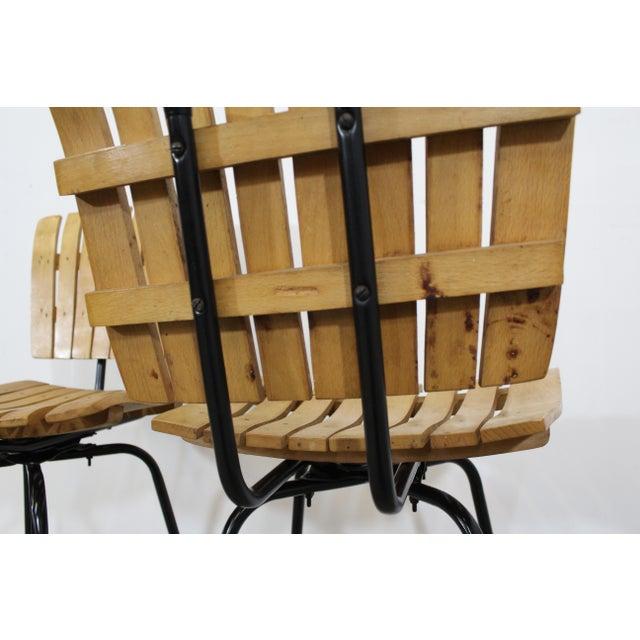 Black Set of 3 Mid-Century Danish Modern Arthur Umanoff Swivel Slat Bar Stools For Sale - Image 8 of 11