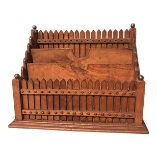 Early 20th Century Burl Wood Letter Holder For Sale