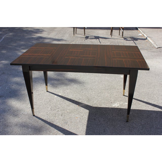 1940s Art Deco Exotic Macassar Ebony Writing Desk / Dining Table For Sale - Image 12 of 13