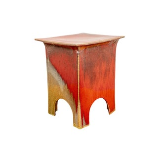 Japanese Yellow and Red Pottery Garden Seat