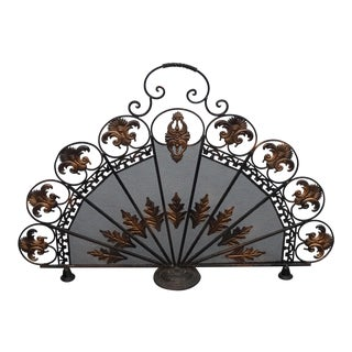 Vintage French Country Peacock Metal Black & Gold Fireplace Screen W Flourishes For Sale