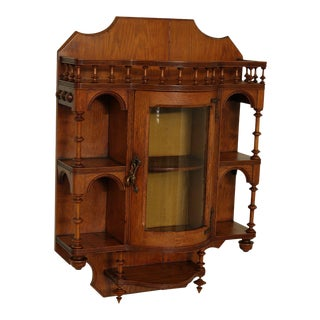 Antique Victorian Oak Hanging Bow Glass Curio Display Cabinet Etagere For Sale