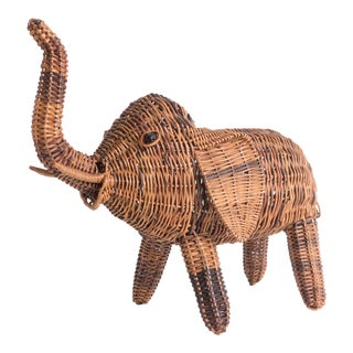 Vintage Wicker Elephant Statue For Sale