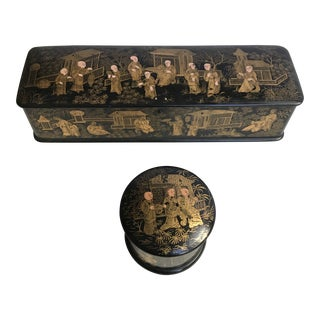 Early 20th Century Antique Chinoiserie Boxes - 2 Pieces For Sale