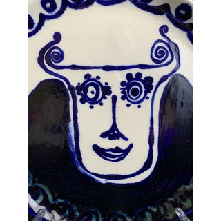 "Abstract Cubism Hand Painted Cobalt Blue ""Curly Horns"" Face Ceramic Decorative Pottery Plate Preview"