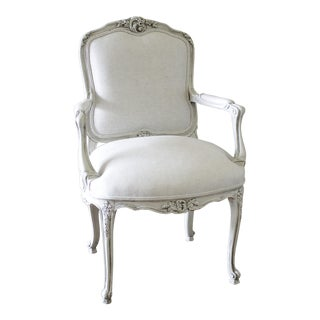 20th Century French Louis XV Style Armchair Upholstered in Belgian Linen For Sale