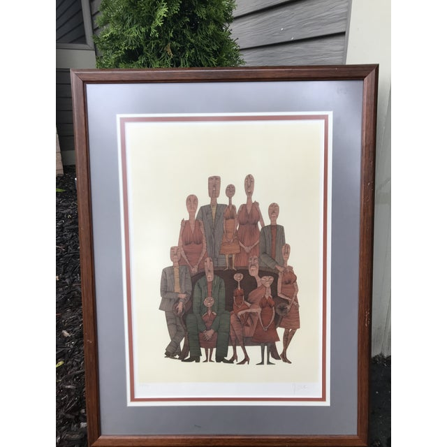 Vintage Mid-Century Abstract Family Portrait Print Block Print Lithograph Signed and Numbered For Sale - Image 9 of 10