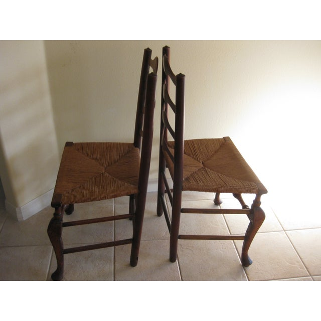 Antique English Ladderback Chairs - Pair For Sale - Image 7 of 7