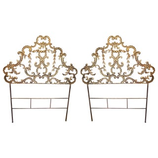 French Gilded Tole Twin Bed Headboards - a Pair For Sale