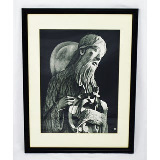 Vintage Framed Black and White Religious Print Jesus and Lamb Preview