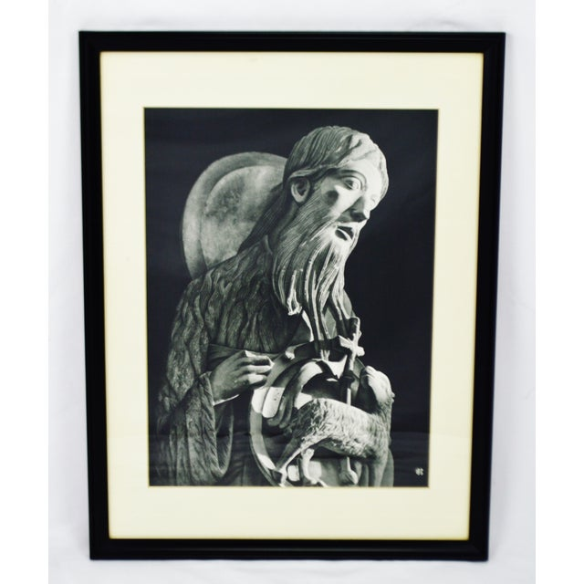 """Vintage Framed Black and White Religious Print Jesus and Lamb Approximate Frame Dimensions: 21"""" high x 16"""" wide x 1"""" deep..."""