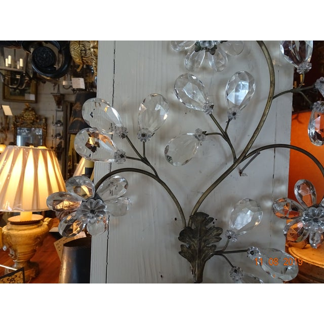 Gray Pair of 19th Century Italian Crystal Sconces For Sale - Image 8 of 12