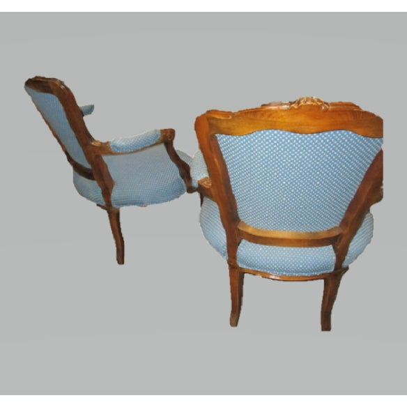 Early 21st Century A Pair Bergere Chairs - Blue Antique French Country Accent Chair For Sale - Image 5 of 7