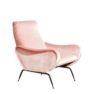 Vintage 1970s Italian Pink Velvet Armchair For Sale