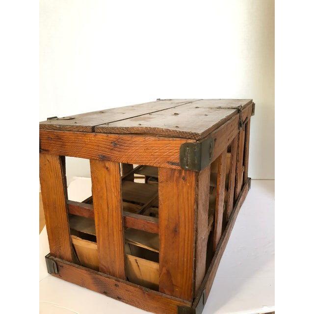 Antique French berry crate with latch. Includes original berry baskets. Found in France.