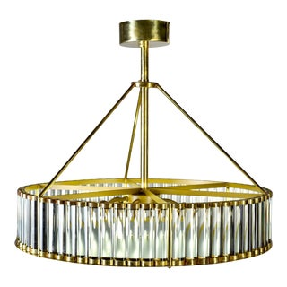 Italian Deco Style Fixture With Polished Brass and Glass Rod Frame For Sale