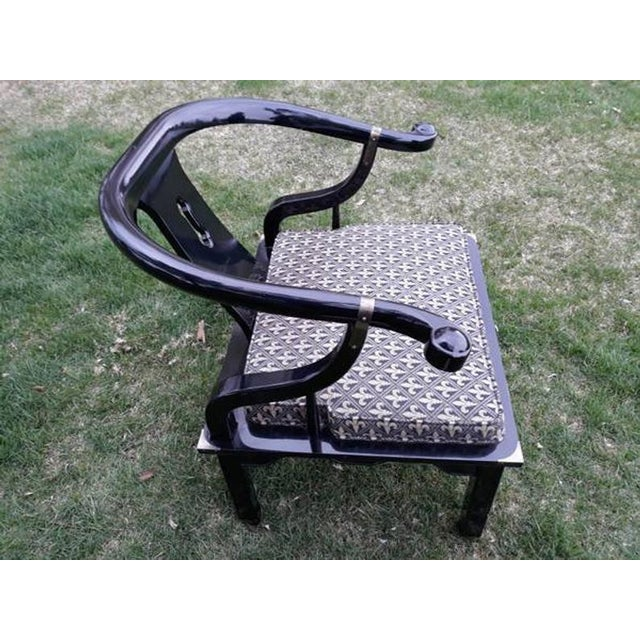 Vintage Century Furniture Chin Hua Ming Style lounge chairs. Black lacquer and brass accents. In good vintage condition...