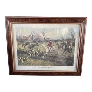 Early 1900s Antique Hunting Framed Lithograph Print by George Wright For Sale