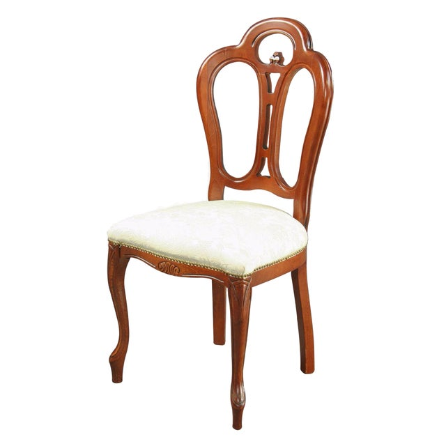 Italian Ivory Damask Dining Chair For Sale