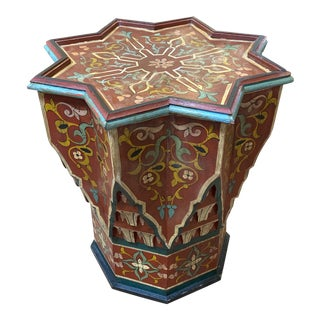 Moroccan Badia Design Star Shape Handpainted Table For Sale