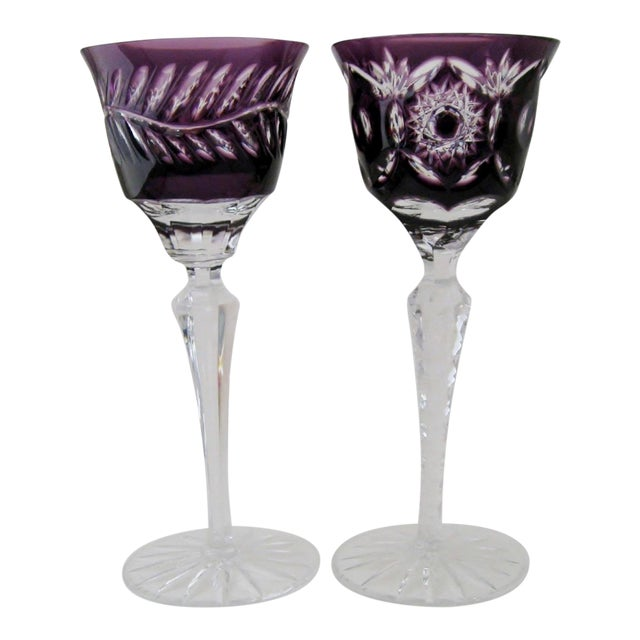 Bohemian Crystal Cordials, a Pair - Image 1 of 3