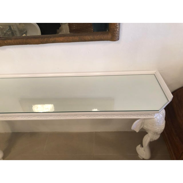 Vintage Gampel & Stoll White Lacquered Elephant Wall Console Table For Sale - Image 5 of 11