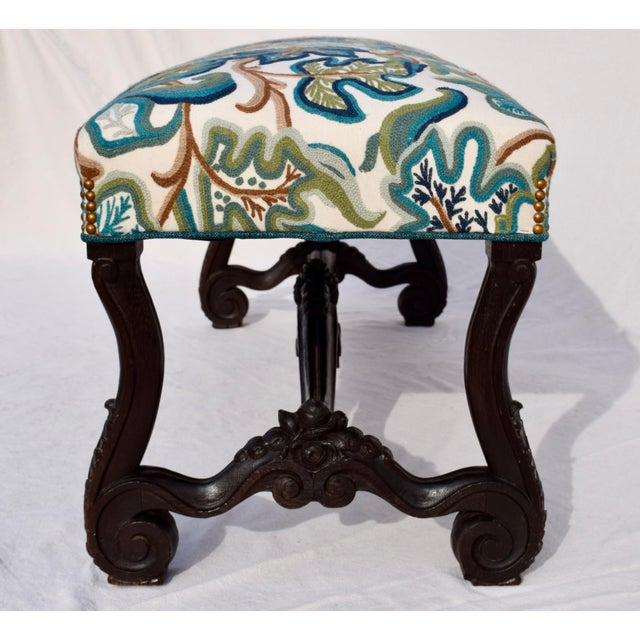 American Mid 19th Century Antique American Empire Upholstered Scroll Form Bench For Sale - Image 3 of 12