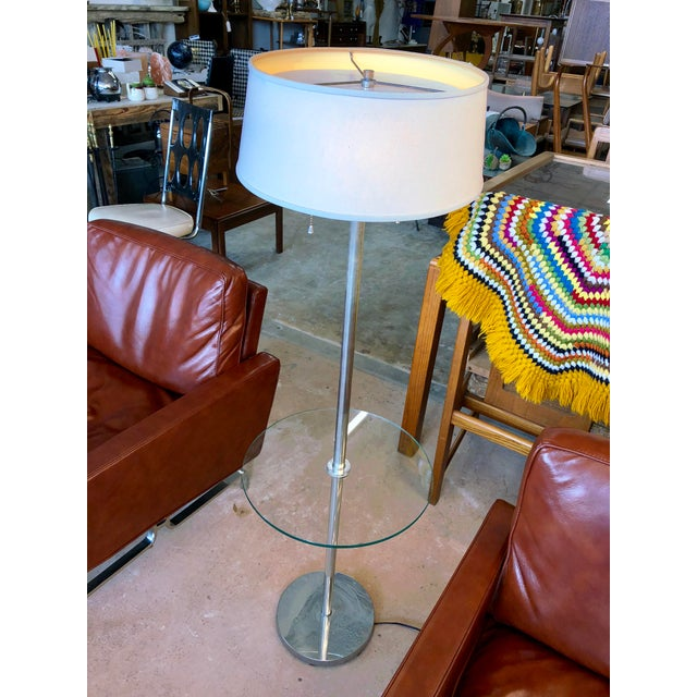 Metal Mid Century Walter Von Nessen Chrome Tray Table Floor Lamp For Sale - Image 7 of 7