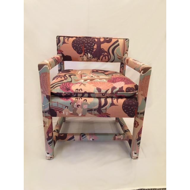 Morehead chair by Highland House furniture, 2 available. Upholstered in Schumacher fabric Pearl River blush.