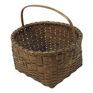 20th Century Rustic Maine Woven Basket For Sale