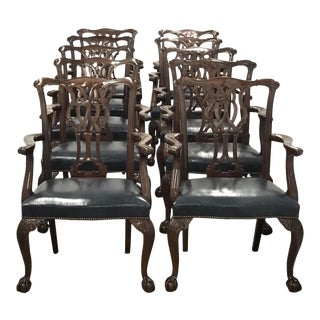 Baker Furniture Chippendale Style Ball & Claw Arm Chairs - Set of 10 For Sale