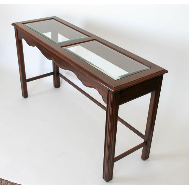 1990s Drexel Heritage Console or Sofa Table W/ Benches - 3 Pc. Set For Sale - Image 5 of 11