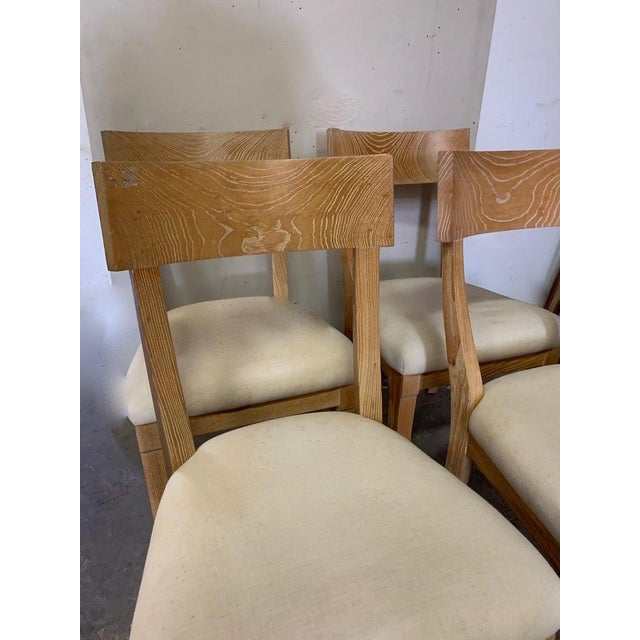 Set of Four Cerused Oak Dining Chairs For Sale - Image 4 of 7