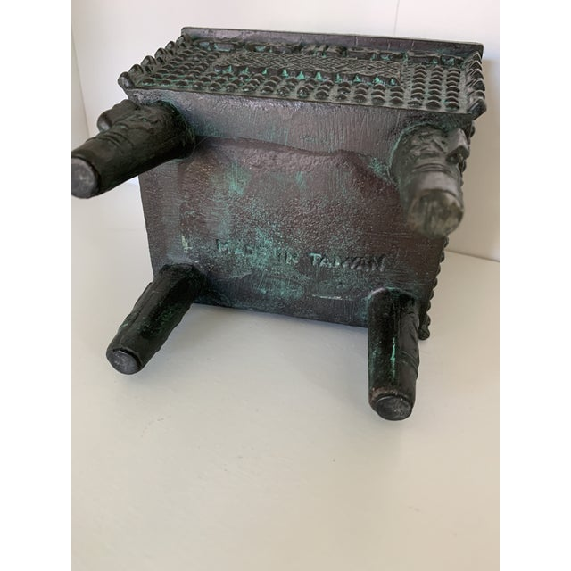 Vintage Taiwanese Metal Box on Legs For Sale In Minneapolis - Image 6 of 7