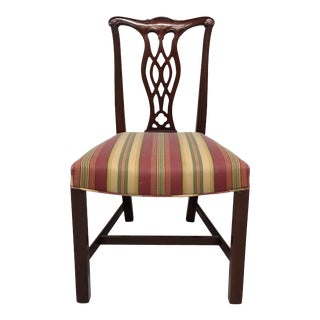 Hickory Chair Solid Mahogany Chippendale Straight Leg Dining Side Chair For Sale