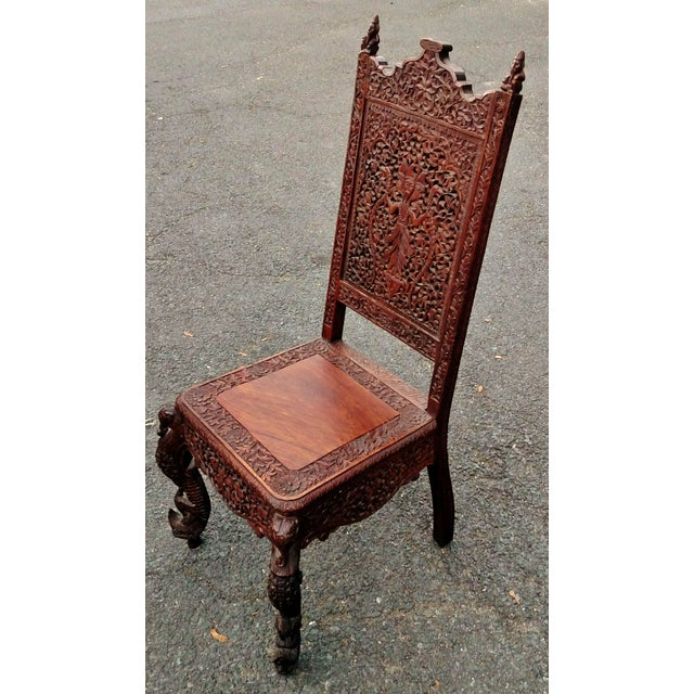 Asian 19th C Figural Carved Wood Burmese Chair - Image 10 of 10