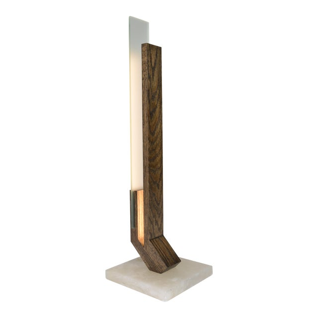 Offset - Oak Alabaster Base Led Table Lamp For Sale