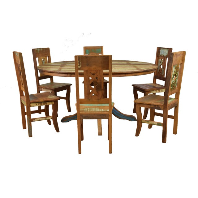 Recycled/Repurposed Reclaimed Wood Dining Set For Sale - Image 7 of 7