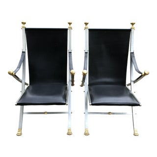 1960s Vintage Jansen Style Italian Leather Campaign Chairs- A Pair For Sale