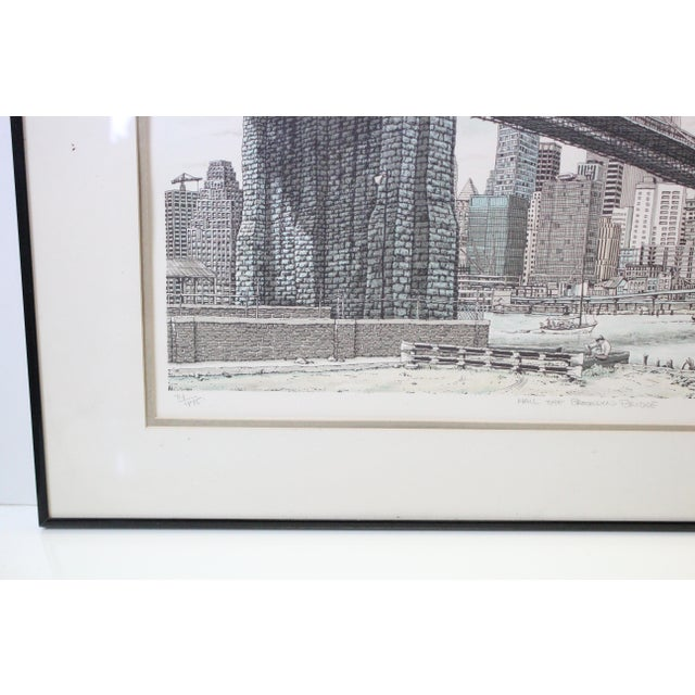 """Blue """"Hail Brooklyn Bridge"""" Print of the Twin Towers For Sale - Image 8 of 9"""