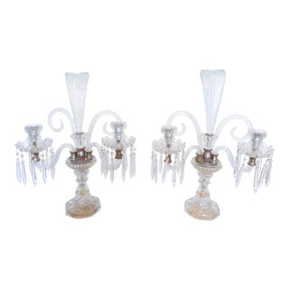 Crystal Candelabras With Feather Shape - a Pair For Sale