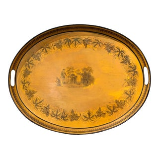 Mid-19th Century French Napoleon III Hand Painted Mustard and Black Tole Tray For Sale