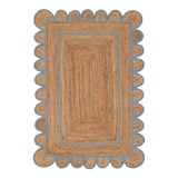 Image of Scallop Jute Classic Blue Hand Made Rug - 2.6'x5' For Sale