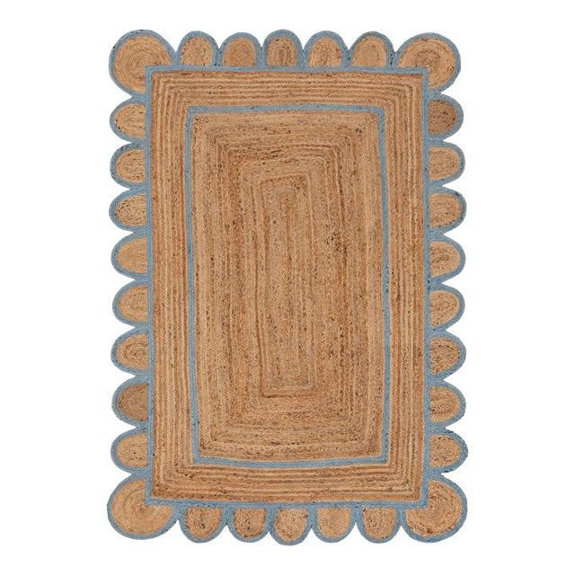 Scallop Jute Classic Blue Hand Made Rug - 2.6'x5' For Sale