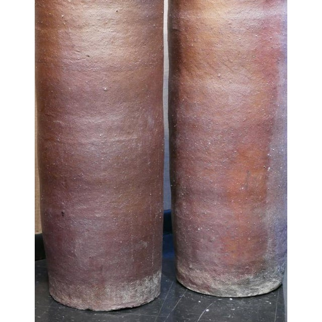 Brown Cylinder Vessels - a Pair For Sale - Image 4 of 5