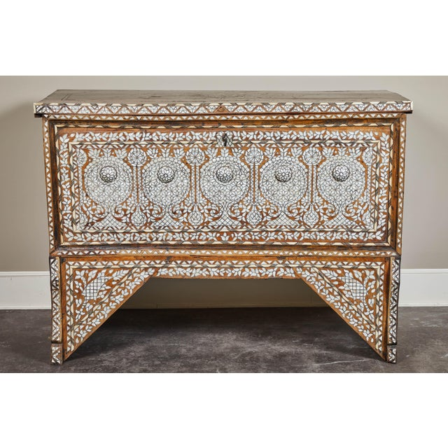 A heavily inlaid Syrian Wedding Chest with key. Lighter-toned blonde wood on a lovely stand. Syrian dowry wedding chest...